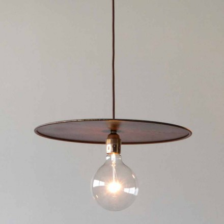Suspended Iron Lamp with Artisan Cotton Cord Made in Italy - Ufo