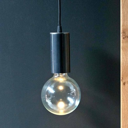 Suspended Lamp in Iron and Glass with Cotton Cable Made in Italy - Ampolla