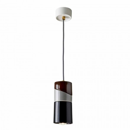 Suspended lamp in brass and modern colored ceramic made in Italy Asia