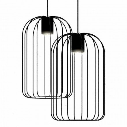 Modern Suspended Lamp with Metal Wire Structure Made in Italy - Cage