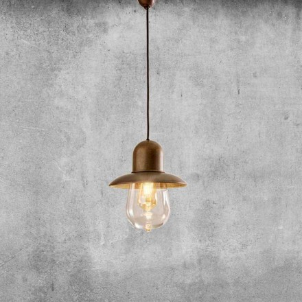 Vintage Suspended Lamp with Brass Reflector - Guinguette Aldo Bernardi