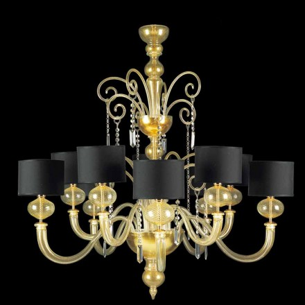 Murano Glass Chandelier 10 Lights Covered in 24 carat gold – Rimetto