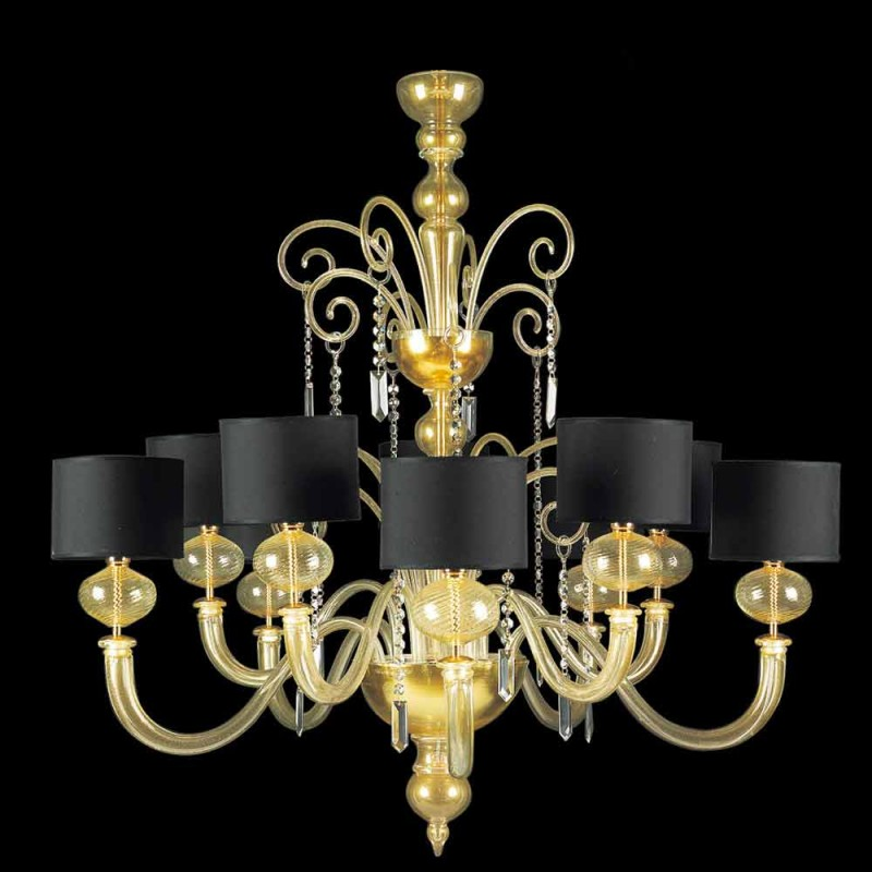 Chandelier 10 Lights in Murano Glass Covered in 24 Carat Gold - Rim