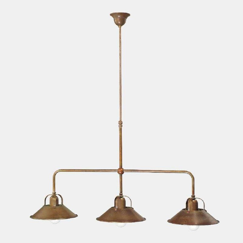 3 Lights Chandelier in Brass Vintage Design Made in Italy - Cascina by Il Fanale