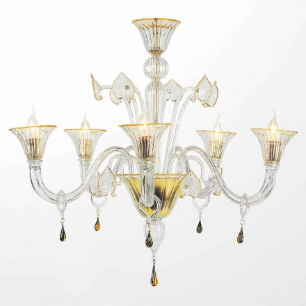 Murano Glass Chandelier, Classic Style with 5 Lights, Made in Italy – Quartilio
