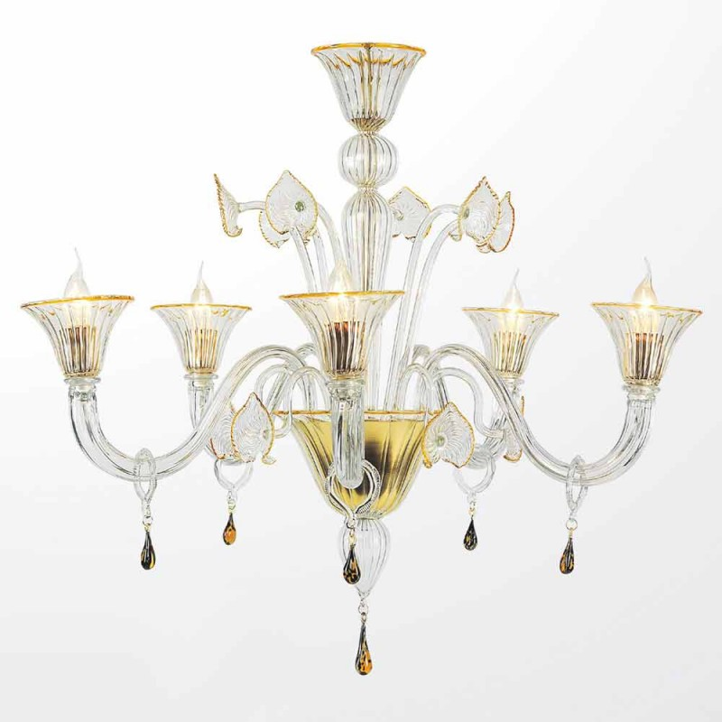 Murano Glass 5 Lights Chandelier, Classic Style, Made in Italy - Quartilio