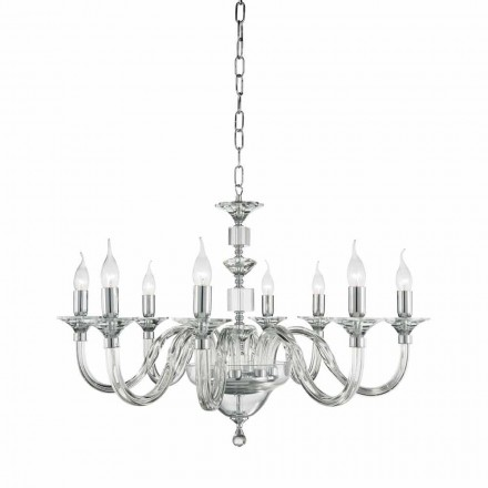 Classic 8 lights chandelier made of glass with crystal decorations Ivy