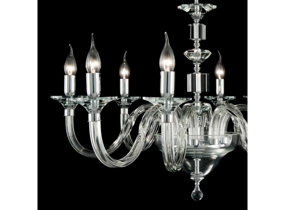 Chandelier 8 glass desgin lights with Ivy crystal decorations