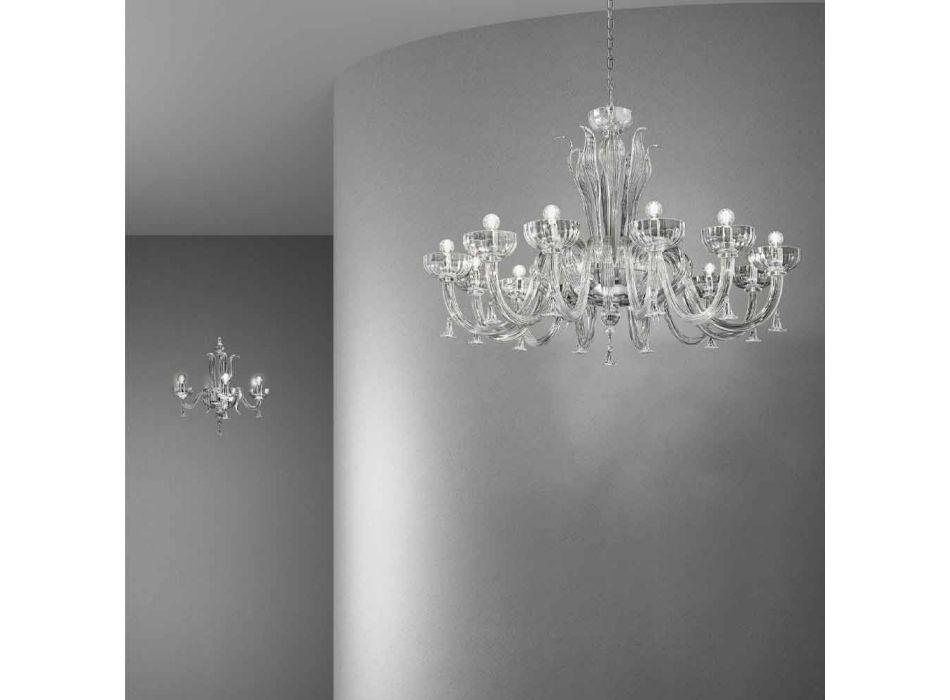 12 Light Handmade Venetian Glass Chandelier, Made in Italy - Regina