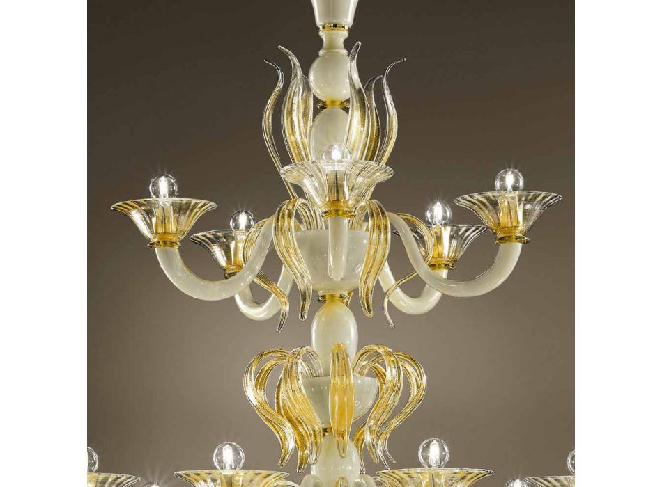 15 Lights Chandelier in White and Gold Venetian Glass, Made in Italy - Agustina