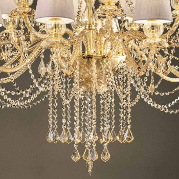 Chandelier with 16 Lights Handmade in Venice Glass, Made in Italy - Milagros