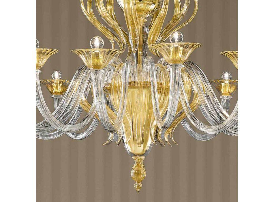 16 Lights Handmade Venetian Glass Chandelier, Made in Italy - Agustina