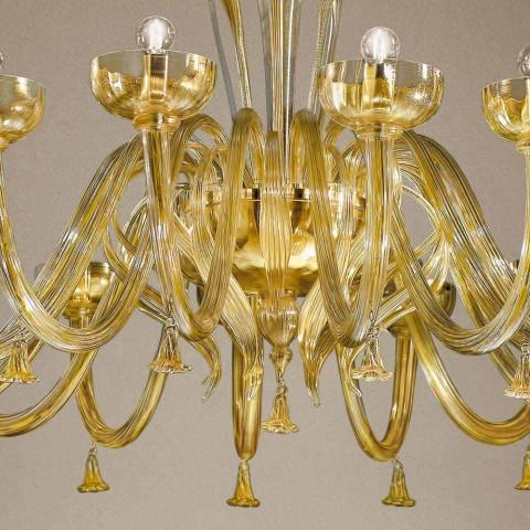 16 Lights Chandelier in Venetian Glass and Gold, Handmade in Italy - Regina