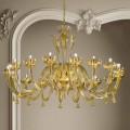 16 Lights Venetian Glass and Gold Chandelier, Handmade in Italy - Regina