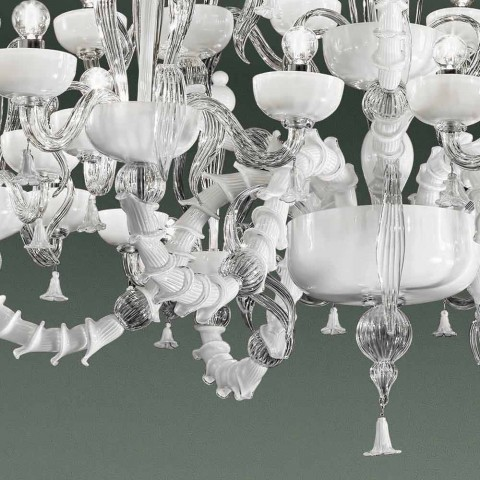 Chandelier with 27 Lights in White Venice Glass, Handmade in Italy - Regina