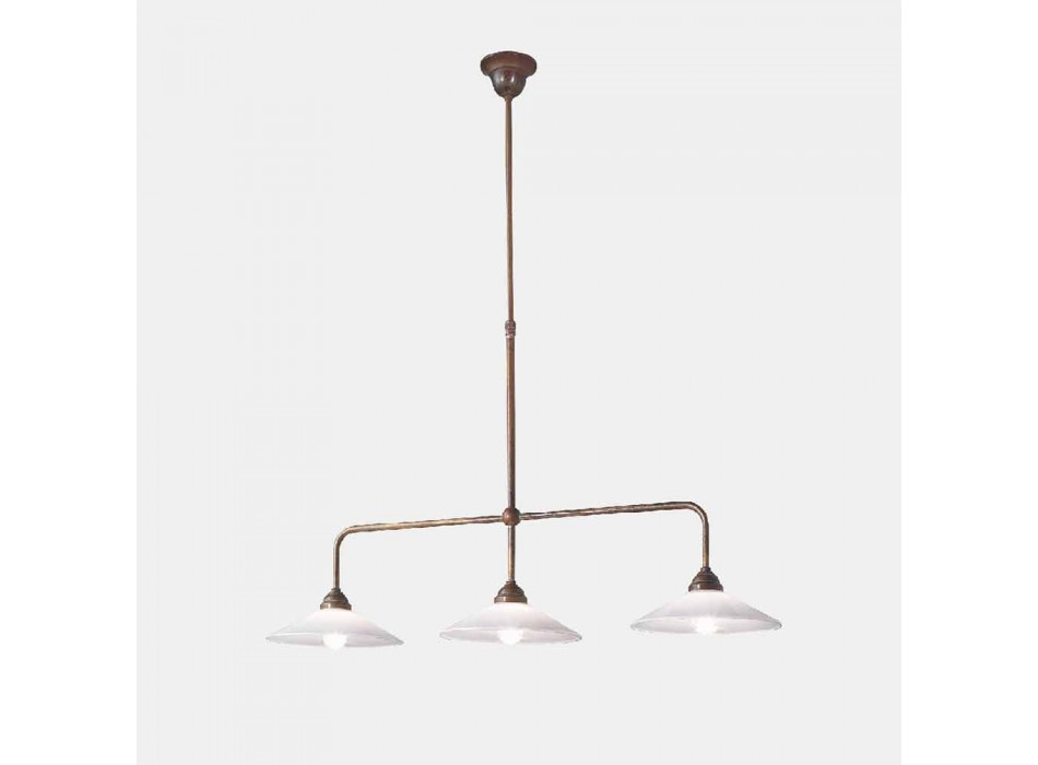 3 Lights Chandelier in Antique Brass and New Classic Glass - Tabià by Il Fanale