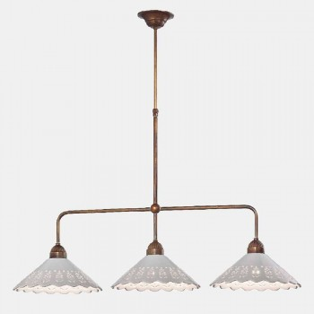 3 Lights Chandelier in Brass and Perforated Ceramic - Fiordipizzo by Il Fanale
