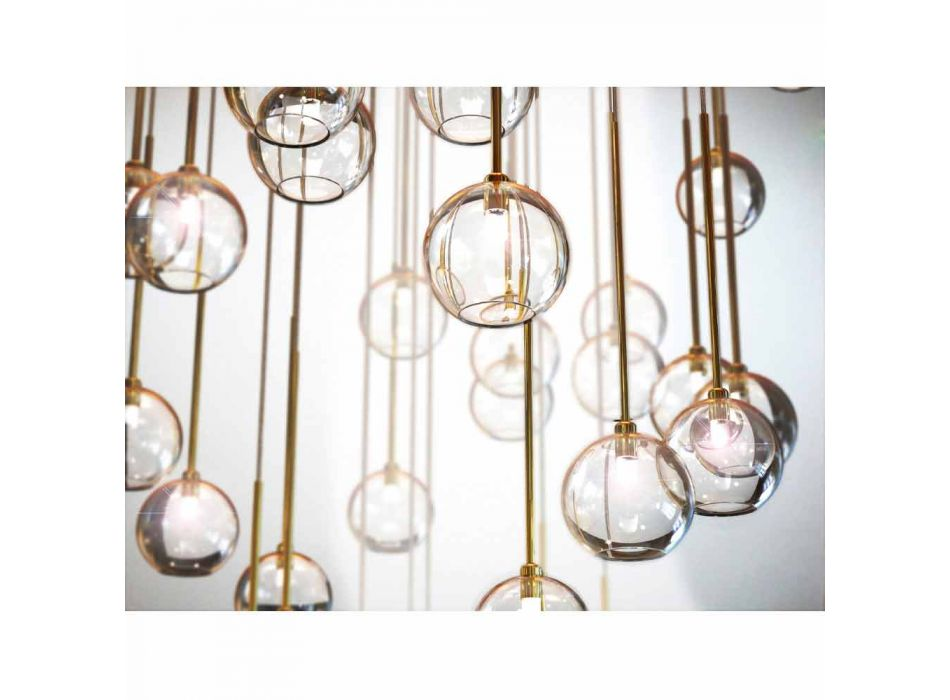40 Lights Chandelier in Polished Brass and Glass Made in Italy, Luxury - Selene