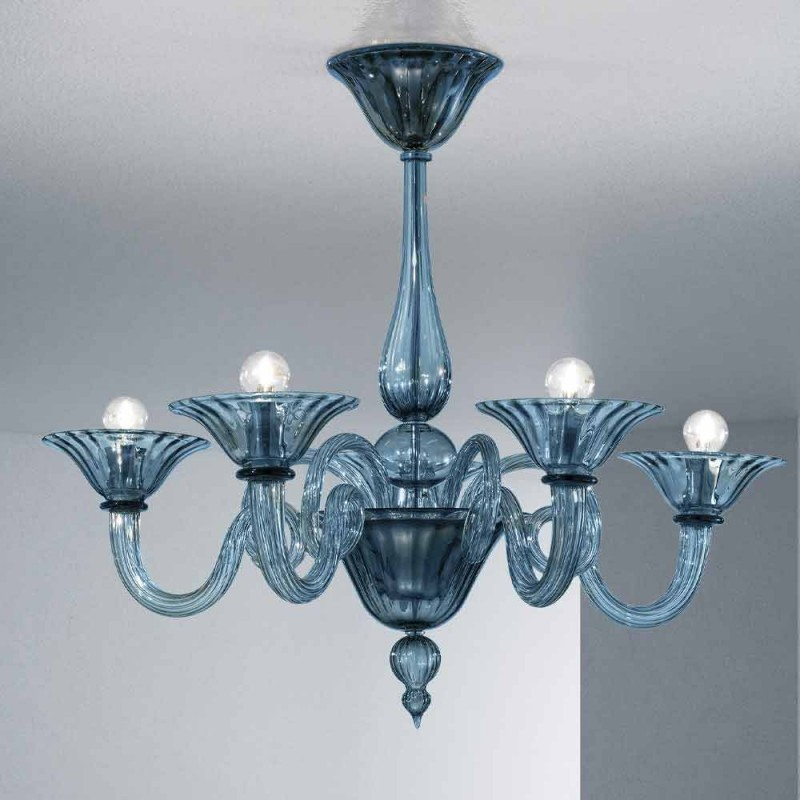 5 Lights Artisan Glass Chandelier from Venice, Made in Italy - Margherita
