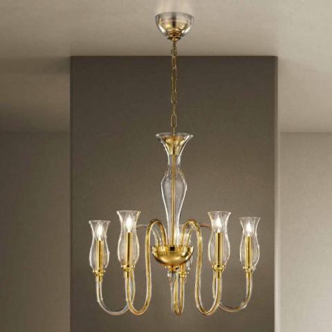5 Lights Chandelier Handmade in Italy in Venetian Glass - Vittoria