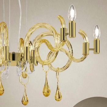 6 Light Handmade Venice Glass Chandelier Made in Italy - Bernadette