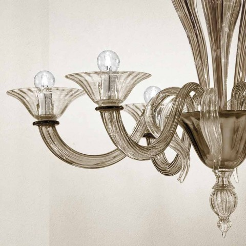 Artisan 6-Light Chandelier in Smoked Venetian Glass Made in Italy - Agustina