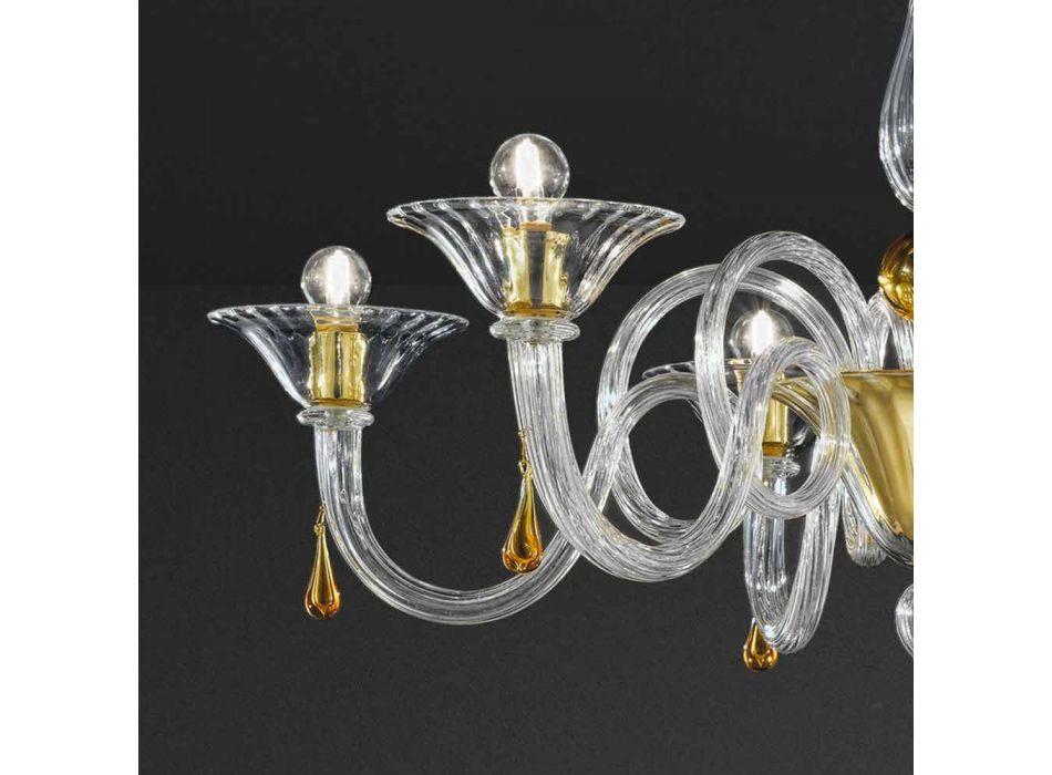 6 Light Handmade Venetian Glass Chandelier, Made in Italy - Margherita