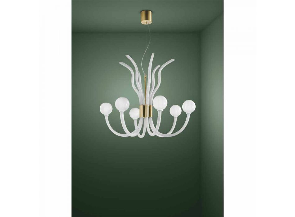 6 Light Venetian Glass Chandelier Handmade in Italy - Antonietta