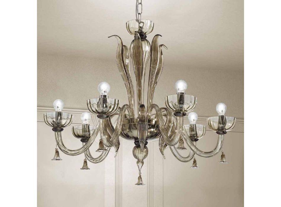 6 Light Venetian Glass Chandelier, Handmade in Italy - Regina