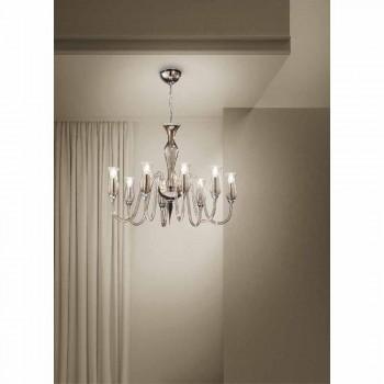 Artisan 8-Light Chandelier in Smoked Venetian Glass Made in Italy - Vittoria