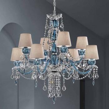 8 Lights Chandelier in Venetian Glass Handmade, Made in Italy - Milagros