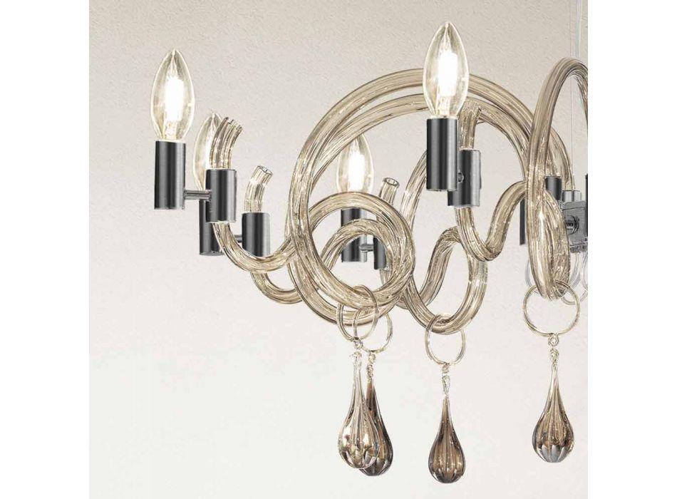 9 Light Handmade Venice Glass Chandelier Made in Italy - Bernadette