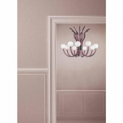 9 Light Amethyst Venetian Glass Chandelier Made in Italy - Antonietta