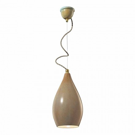 Ceramic pendant light, vintage design, made in Italy by Ferroluce