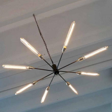 Iron Suspension Chandelier with Brass Details Made in Italy - Stilla