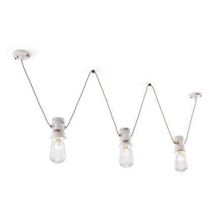 Jayda handcrafted suspended chandelier with three spotlights by Ferroluce