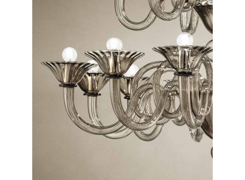 Artisan Chandelier with 18 Lights in Venice Glass, Made in Italy - Margherita