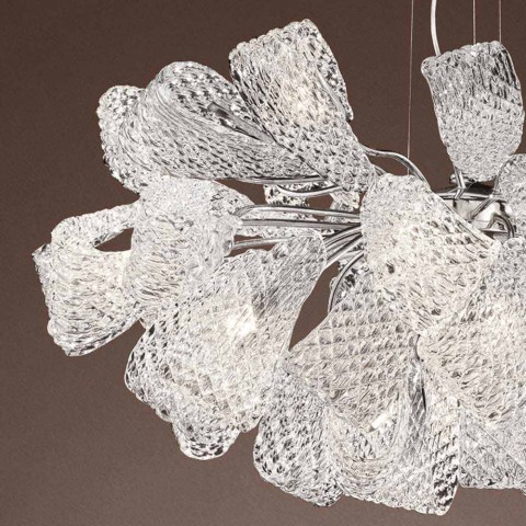 Artisan Chandelier with 21 Lights in Venetian Glass, Made in Italy - Diamonique