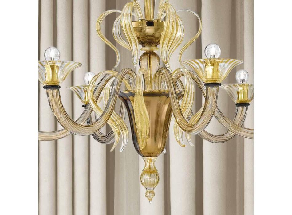 Artisan 6 Light Venetian Glass Chandelier Made in Italy - Agustina