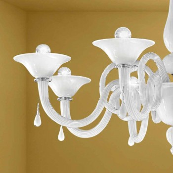 Artisan 8 Lights Chandelier in Venice Glass, Made in Italy - Margherita