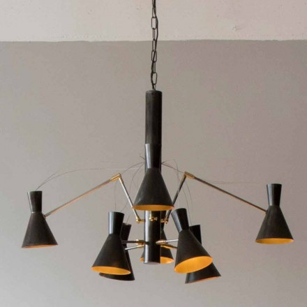 Handmade Chandelier with Iron and Aluminum Structure Made in Italy - Selina