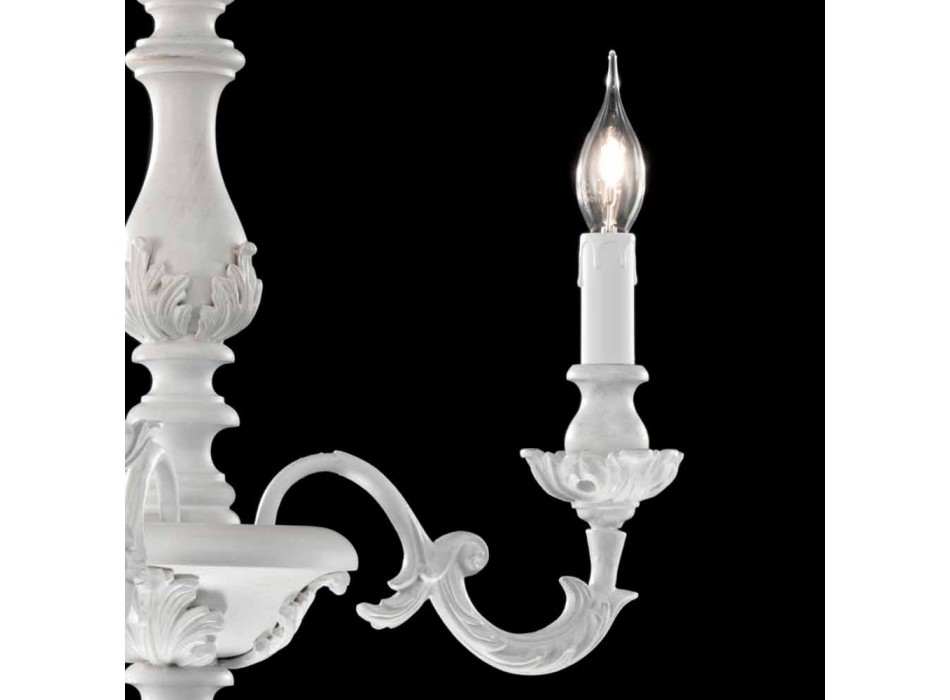 White chandelier with 3 lights in wood Lira, made in Italy