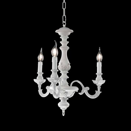 Classic 3 lights chandelier made of wood Lira, made in Italy