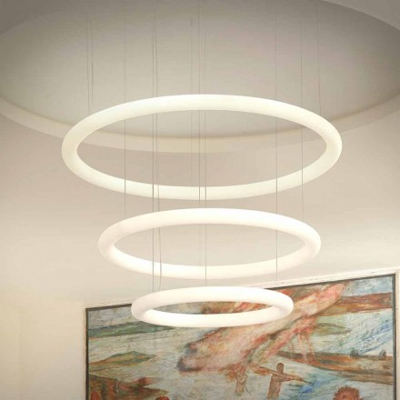 White LED Design Chandelier with Metal Rosette Made in Italy - Slide Giotto