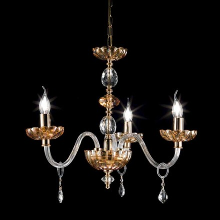 Classic design 3 lights chandelier made of glass and crystal Belle