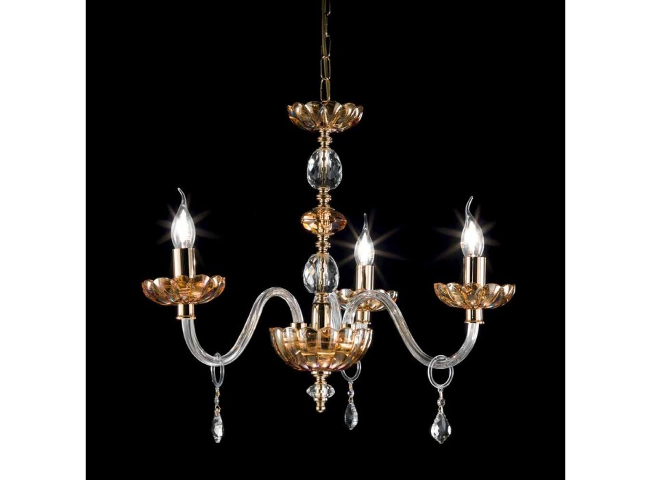 Classic crystal chandelier with 3 lights Belle, made in Italy