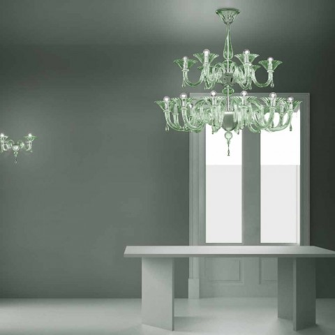 18 Lights Venetian Glass Chandelier Handmade in Italy - Margherita