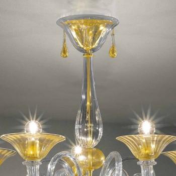 5 Lights Venice Glass Chandelier, Handmade in Italy - Margherita
