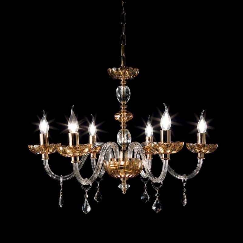 Classic chandelier with 6 lights in glass and crystal Belle