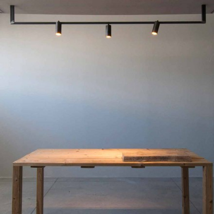 Modern Design Chandelier Handmade in Black Iron Made in Italy - Pamplona